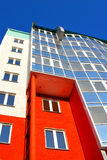 Colorful modern building. Low angle view of colorful modern building facade stock image