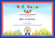 Colorful and modern certificate of participation for kids activities Stock Image