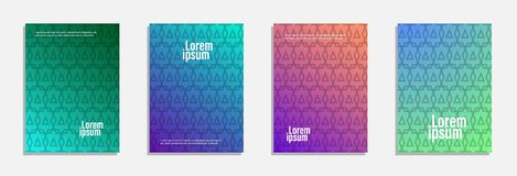 Colorful and modern cover design. Set of geometric pattern background stock images
