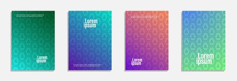 Colorful and modern cover design. Set of geometric pattern background stock photography