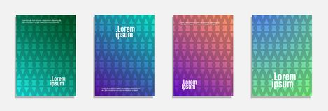 Colorful and modern cover design. Set of geometric pattern background royalty free stock images