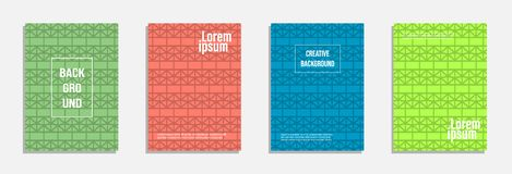 Colorful and modern cover design. Set of geometric pattern background stock illustration