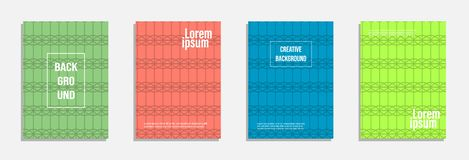Colorful and modern cover design. Set of geometric pattern background royalty free illustration