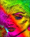 Colorful modern digital art, pop or punk art style blonde bombshell. A unique modern digital art image of a blonde bomb shell, close up head shot. This vintage Royalty Free Stock Photo