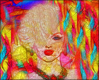 Colorful modern digital art, pop or punk art style blonde bombshell. Royalty Free Stock Photo