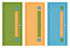 Colorful modern doors on white Stock Images