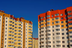 Colorful modern dormitory area. Under blue sky royalty free stock photography