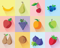 Colorful modern fruits set. On different colors background: banana, green pear, cherry, blueberries, red apple, grapes, orange, green apple, brown pears stock illustration