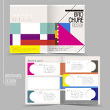 Colorful modern geometric style half-fold template brochure Stock Images