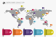 Colorful modern infographic world map connection concept. Vector Royalty Free Stock Photo