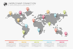 Colorful modern infographic world map connection concept. Vector Royalty Free Stock Image