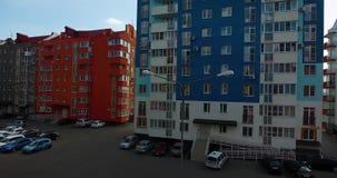 Colorful modern residential complex. Car park. Panorama from a bird`s eye view. May 2018, Krasnodar, German village. Shot with DJI Phantom 4 stock video
