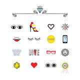Colorful modern retro feminine fun icons set on white Royalty Free Stock Photos