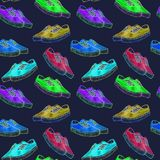 Colorful modern sneakers of bright neon color palette, seamless pattern on dark blue background. Colorful modern sneakers of bright neon color palette, hand royalty free illustration