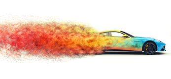 Colorful modern sports car - particle explosion effect. Isolated on white background stock illustration