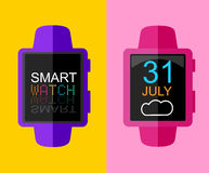 Colorful Modern Trandy Smart Watch. Sportwatch. Concept Flat Design. Vector Illustration. Stock Photography