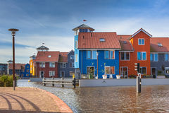 Colorful Modern Waterfront Houses Stock Photo