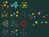 Colorful molecular structures in the form of sphere structure microscopic technology web design, molecule vector. Set of colorful molecular structures in the Royalty Free Stock Image