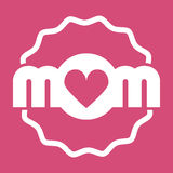 Colorful Mom Emblem. Vector Design Elements For Greeting Card and Other Print Templates. Isolated on pink. Colorful Mom Emblem. Vector Design Elements For Stock Photos