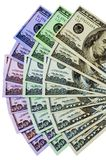 Colorful Money. A colorful fan of multiple denominations of US money stock photography