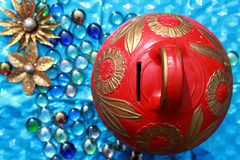 Colorful money box. With design, selective focus Royalty Free Stock Images