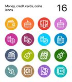 Colorful Money, credit cards, coins icons for web and mobile design pack 2. 16 line colorful vector icons Royalty Free Stock Photo