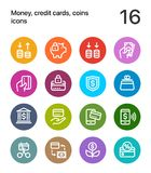 Colorful Money, credit cards, coins icons for web and mobile design pack 3 Stock Photography