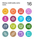 Colorful Money, credit cards, coins icons for web and mobile design pack 1. 16 line colorful vector icons Stock Photos