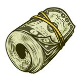 Colorful money roll of dollars concept stock illustration