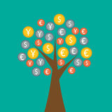 Colorful money tree. On green background Stock Photo