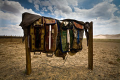 Colorful Mongolian saddles Royalty Free Stock Photography