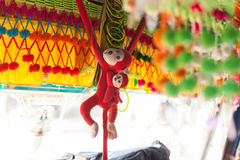 Colorful monkeys in Nepali bus Stock Images