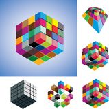 Colorful and mono-chromatic 3d cubes illustration. Illustration of colorful and mono-chromatic 3d cubes arranged in various ways showing them in different Royalty Free Stock Photos