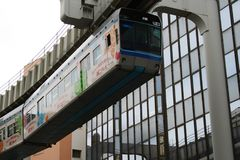 Colorful Monorail Train in Operation Stock Images