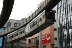 Colorful Monorail Train running in Chiba Stock Photo
