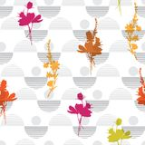 Colorful on monotone grey color Vector botanic silhouette floral. Seamless pattern on modern colorful stripe polka dot, delicate floral wallpaper, wild flowers Royalty Free Stock Image