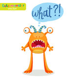 Colorful Monster For Different Emotions. Funny Character With Speech Bubble What? Stock Photos
