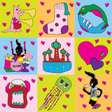 Colorful monsters and jazz band Royalty Free Stock Photos