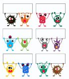 Colorful monsters with placards. Illustration of colorful monsters with placards Royalty Free Stock Image