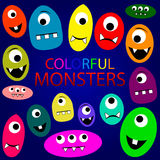 Colorful monsters set. Big vector set of cartoon cute colorful monsters blue background stock illustration