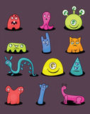 Colorful monsters set Royalty Free Stock Image