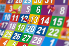 Colorful month calendar with red pins. Illustration with soft fo Royalty Free Stock Image