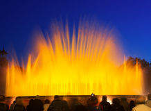 Colorful  Montjuic fountain in Barcelona Stock Image