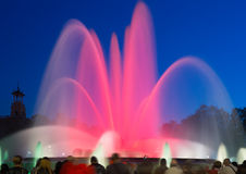 Colorful  Montjuic fountain in Barcelona Stock Photography