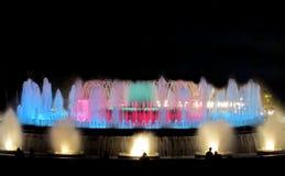 Colorful Montjuic fountain illumination in Barcelona Royalty Free Stock Photos