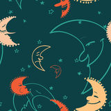 Colorful moon seamless pattern. Vector illustration Royalty Free Stock Photo