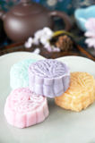 Colorful Mooncake on Plate Stock Photography