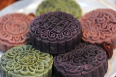 Colorful mooncake stock images