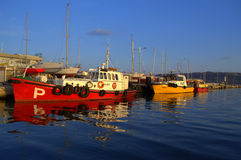 Colorful moored boats Royalty Free Stock Photography