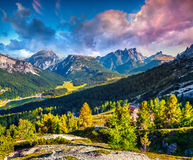 Colorful morning on the Durrenstein and Birkenkofel ranges Stock Photography